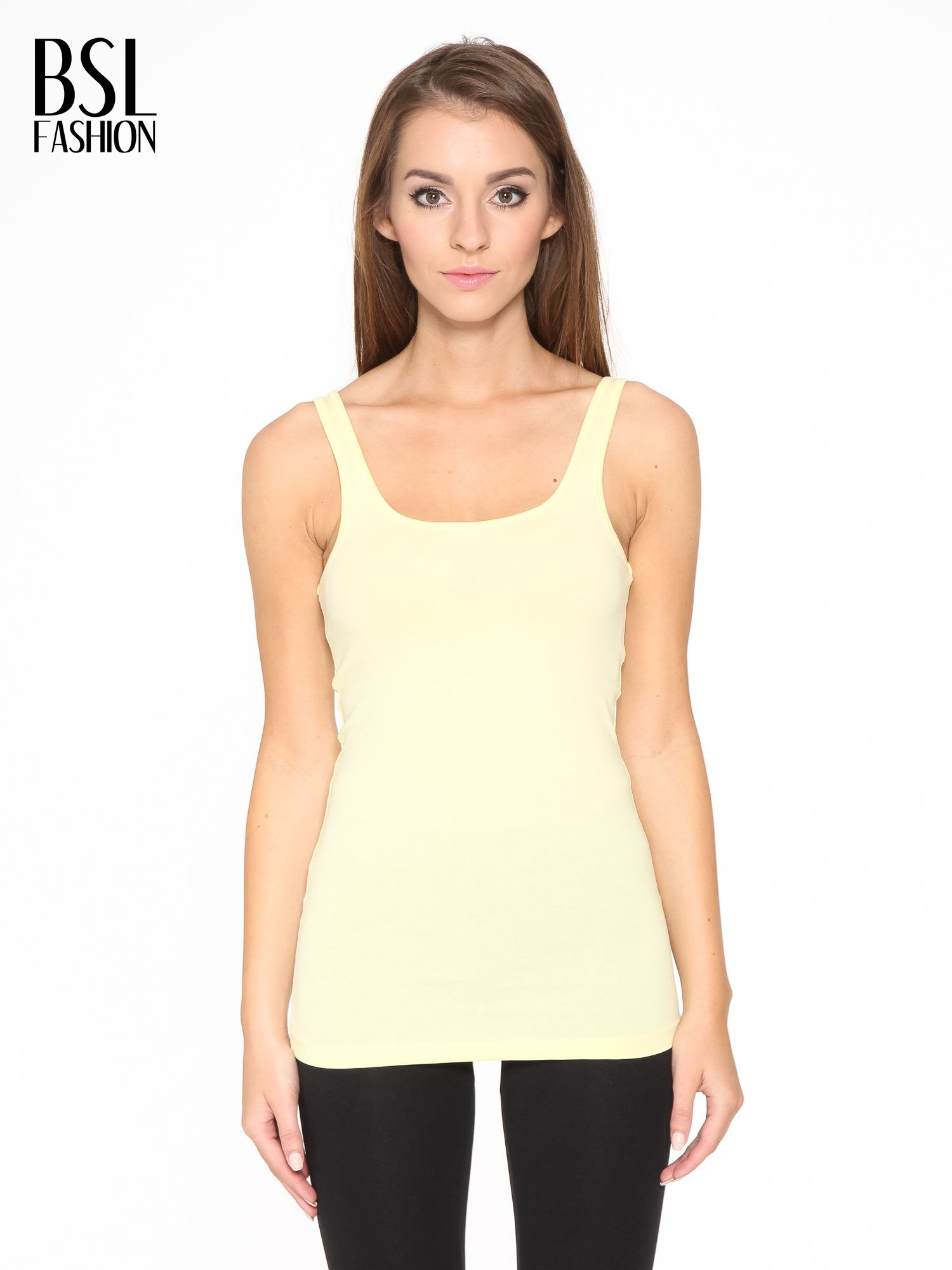 Żółty gładki top na szerokich ramiączkach                                  zdj.                                  1