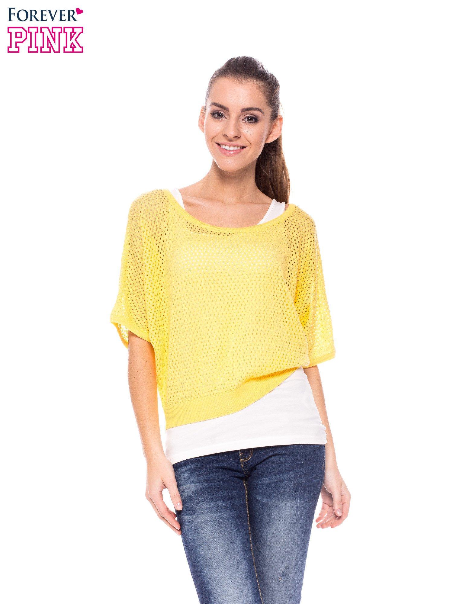 Żółty siateczkowy sweter oversize                                  zdj.                                  1