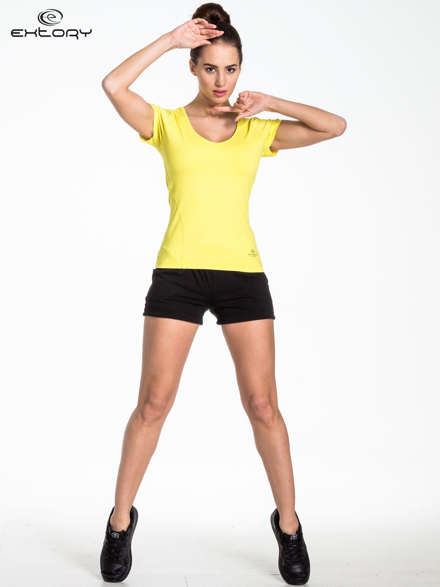 Żółty t-shirt sportowy basic                                  zdj.                                  4