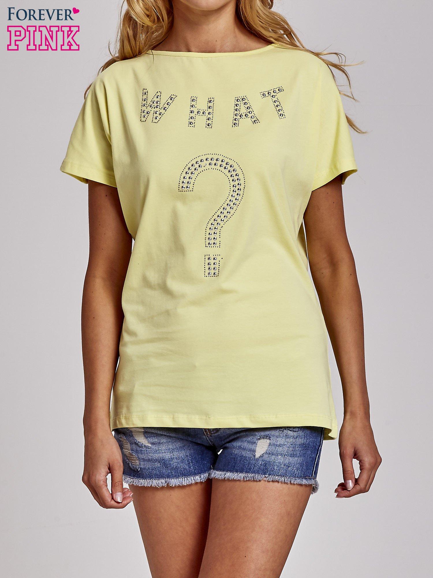 Żółty t-shirt z aplikacją z dżetów WHAT?                                  zdj.                                  1