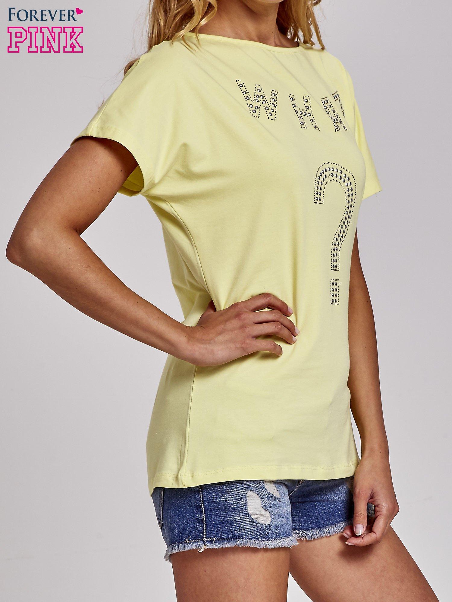 Żółty t-shirt z aplikacją z dżetów WHAT?                                  zdj.                                  3