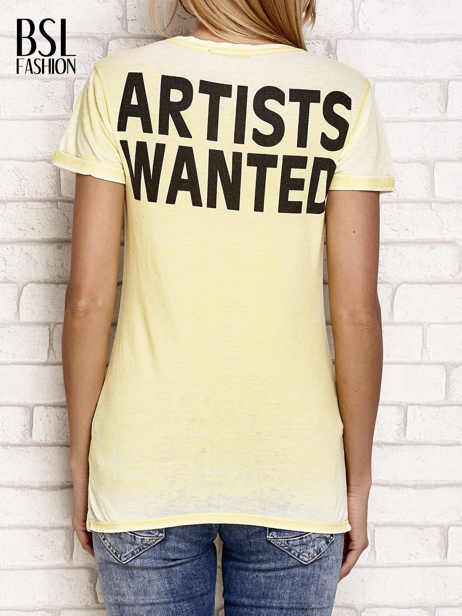 Żółty t-shirt z literą A                                  zdj.                                  2