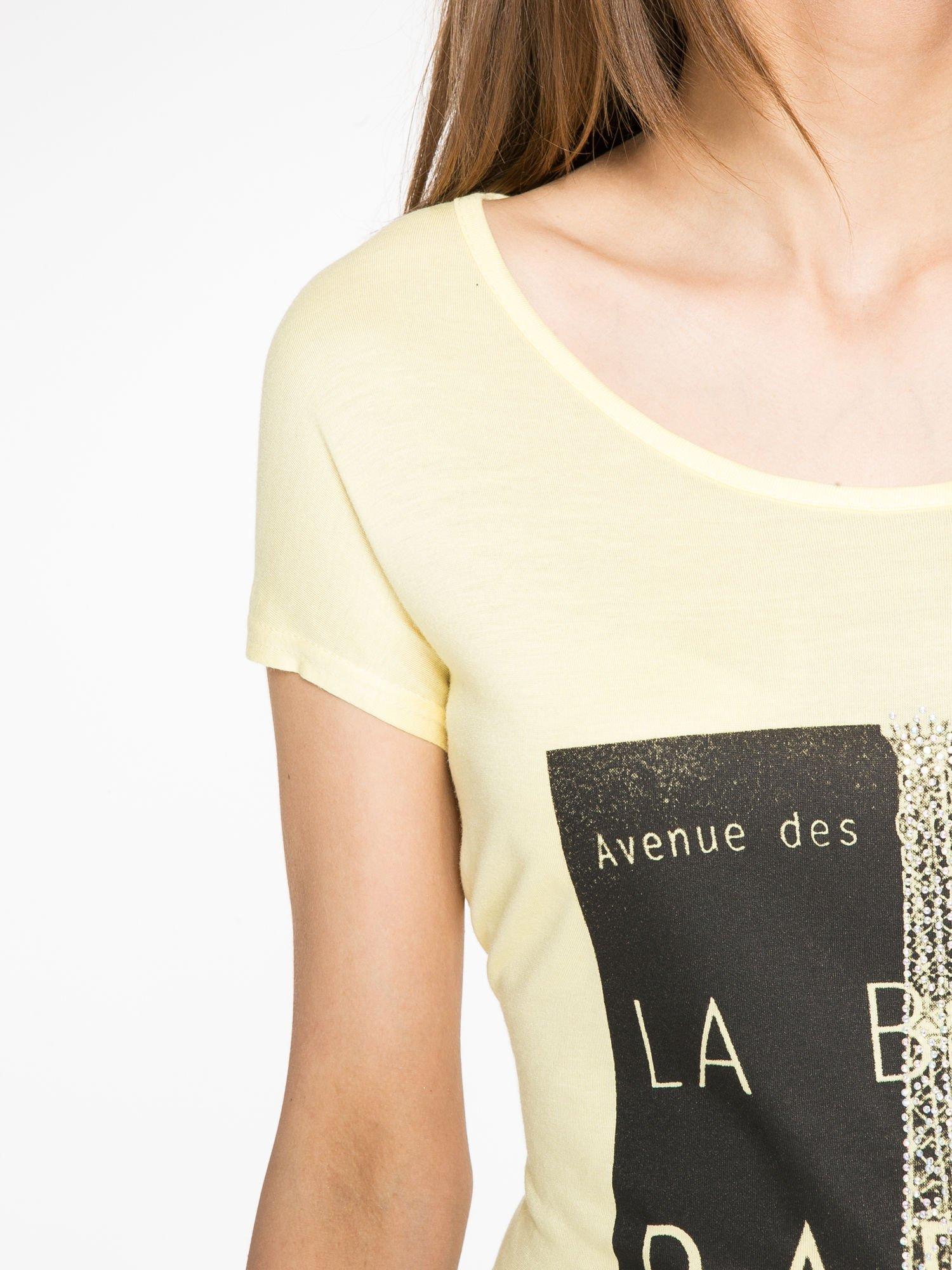 Żółty t-shirt z motywem Paryża                                  zdj.                                  6