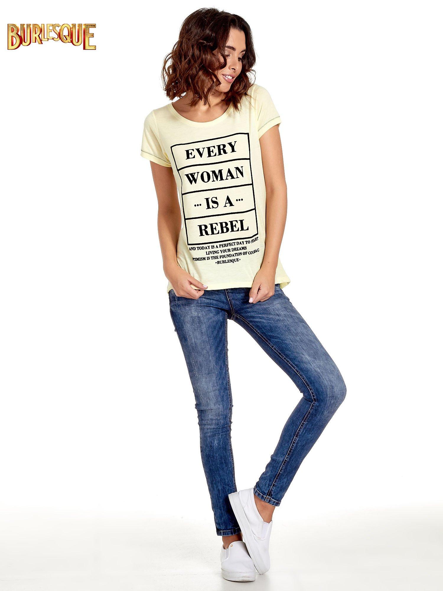 Żółty t-shirt z napisem EVERY WOMAN IS A REBEL                                  zdj.                                  7