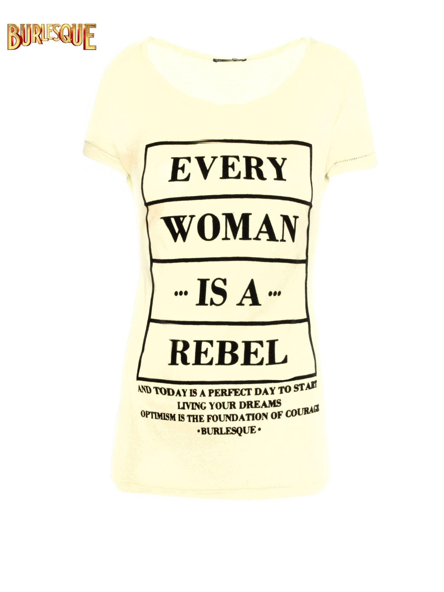 Żółty t-shirt z napisem EVERY WOMAN IS A REBEL                                  zdj.                                  8