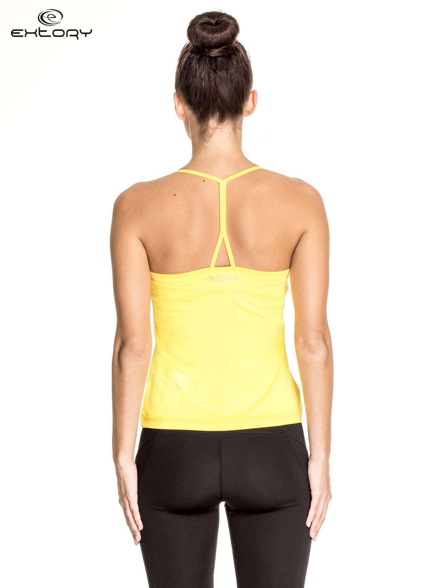 Żółty  top sportowy z siateczką i ramiączkami w kształcie litery T na plecach                                  zdj.                                  2