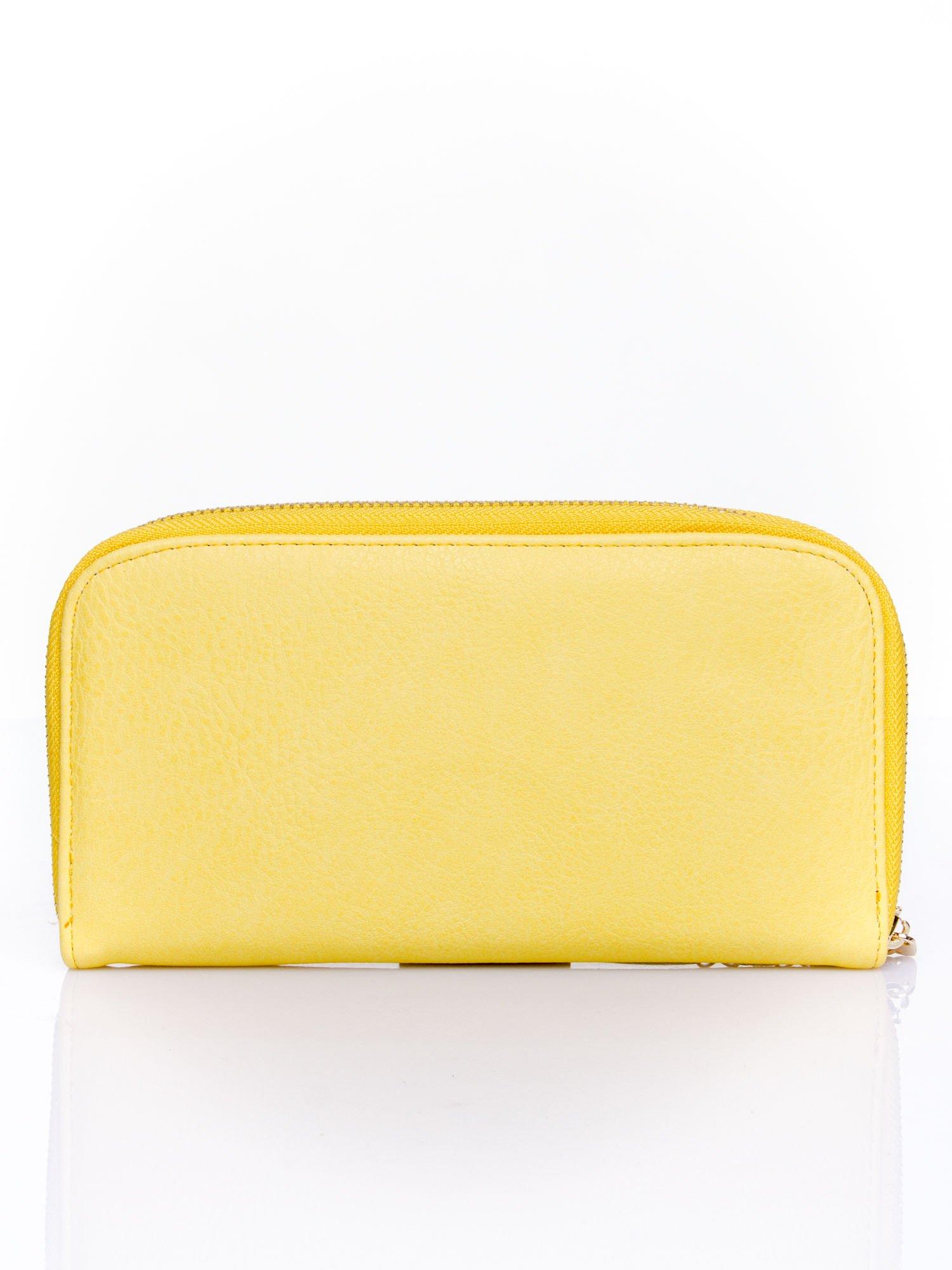 Żółty zasuwany portfel w kwiatki                                  zdj.                                  2