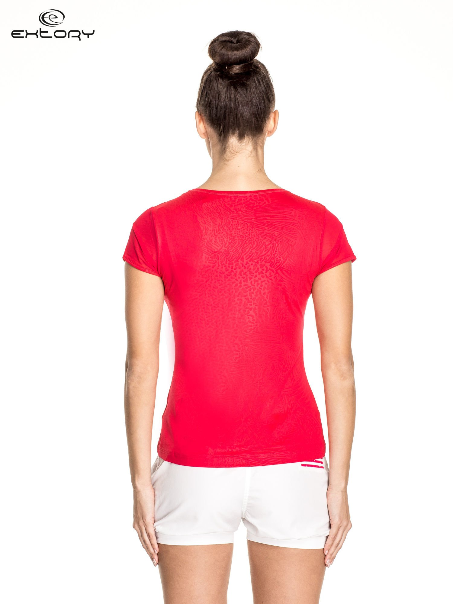 Żyworóżowy panterkowy t-shirt sportowy PLUS SIZE                                  zdj.                                  4