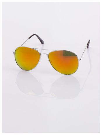 AVIATORY srebrne okulary pilotki lustrzanki czerwono/pomarańczowe                                  zdj.                                  3