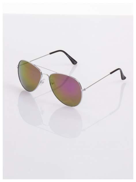AVIATORY srebrne okulary pilotki lustrzanki fioletowe                                  zdj.                                  2