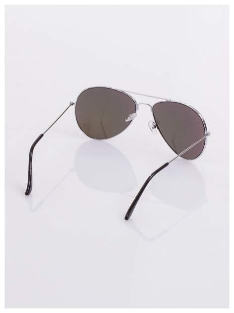 AVIATORY srebrne okulary pilotki lustrzanki fioletowe                                  zdj.                                  4