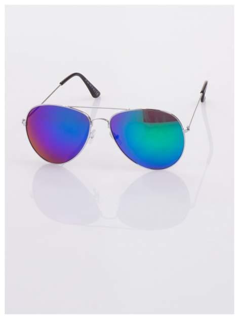 AVIATORY srebrne okulary pilotki lustrzanki niebieskio-zielone                                  zdj.                                  2