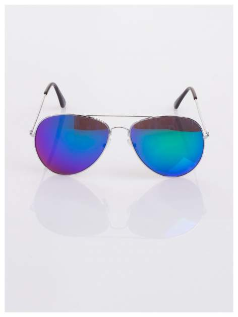 AVIATORY srebrne okulary pilotki lustrzanki niebieskio-zielone                                  zdj.                                  3