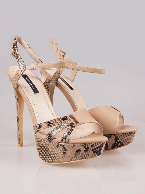 Beżowe wężowe sandały na szpilce Amber zapinane na kostce                                  zdj.                                  2