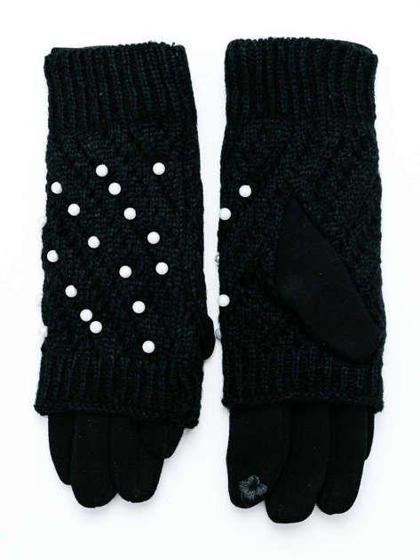 2 w 1 DOTYKOWE Czarne Damskie Rękawiczki MITENKI