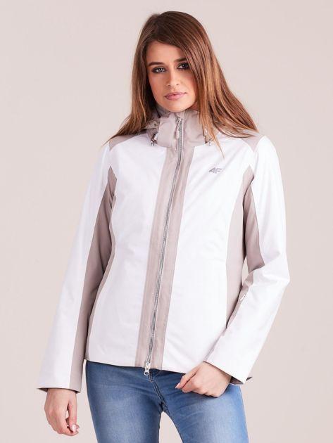 4F Biało-beżowa kurtka zimowa narciarska                              zdj.                              1
