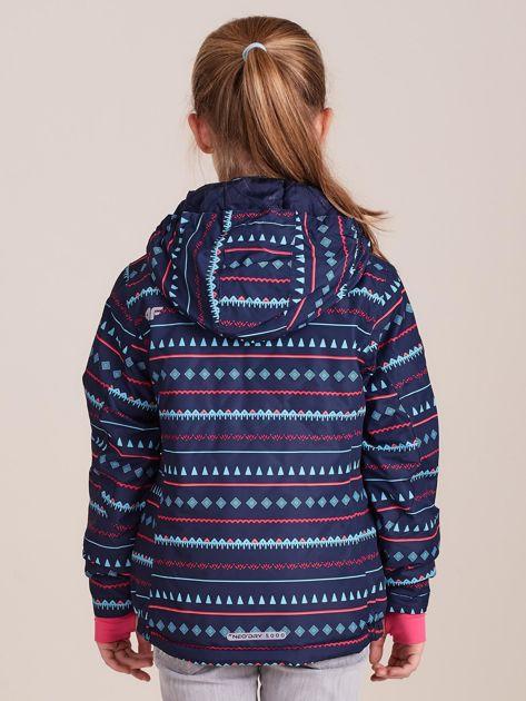 4F Granatowa wzorzysta kurtka narciarska dla dziewczynki                              zdj.                              5