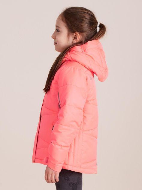4F Neonowa koralowa pikowana kurtka narciarska dla dziewczynki                              zdj.                              3