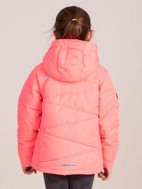 4F Neonowa koralowa pikowana kurtka narciarska dla dziewczynki                              zdj.                              4