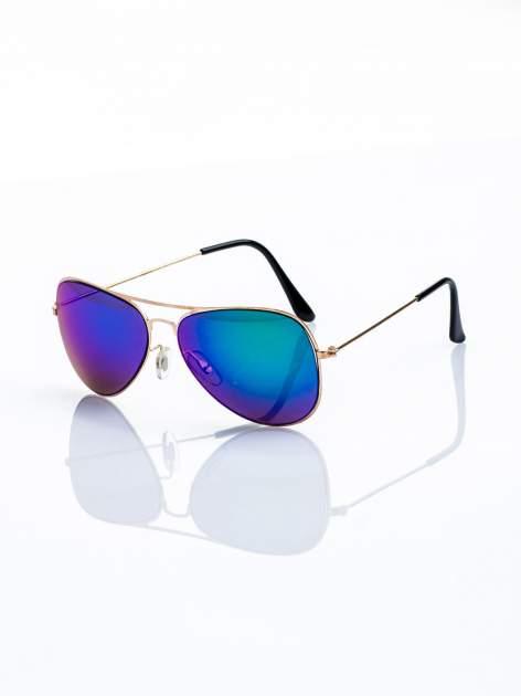 ABSOLUTNY HIT CENOWY okulary przeciwsłoneczne pilotki niebiesko-zielone lustrzankii AVIATOR