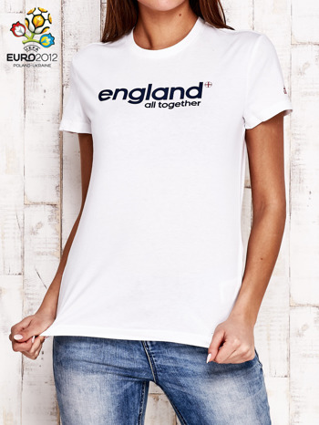 ADIDAS Biały t-shirt z napisem ENGLAND ALL TOGETHER                                  zdj.                                  1