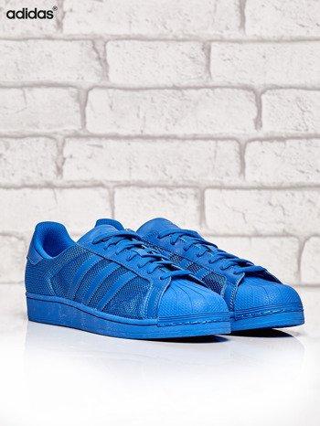 ADIDAS niebieskie buty męskie Superstar Blue z dziurkowaną fakturą