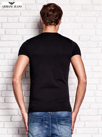 ARMANI JEANS Czarny t-shirt męski z nadrukiem                                  zdj.                                  3
