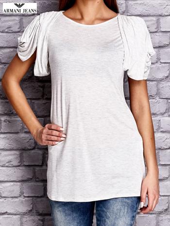 ARMANI Jasnoszary t-shirt z drapowanymi rękawami                              zdj.                              1