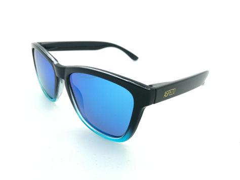 ASPEZO Okulary przeciwsłoneczne unisex POLARYZACYJNE czarno-błękitne LONDON Etui skórzane, etui miękkie oraz ściereczka z mikrofibry w zestawie                              zdj.                              1