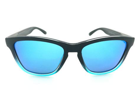 ASPEZO Okulary przeciwsłoneczne unisex POLARYZACYJNE czarno-błękitne LONDON Etui skórzane, etui miękkie oraz ściereczka z mikrofibry w zestawie                              zdj.                              2