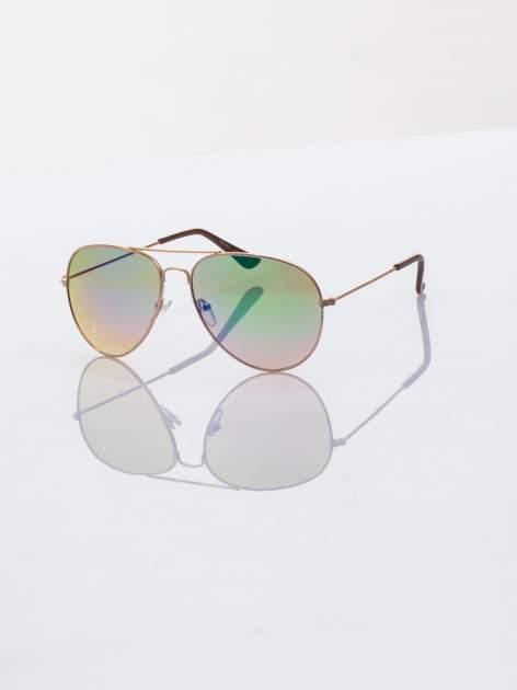 AVIATOR okulary przeciwsłoneczne pilotki lustrzanki tęczowe szkła