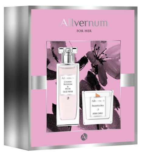 """Allvernum Zestaw prezentowy (woda perf.Cherry&Musk 50ml + świeca Passiflora 100g)"""""""