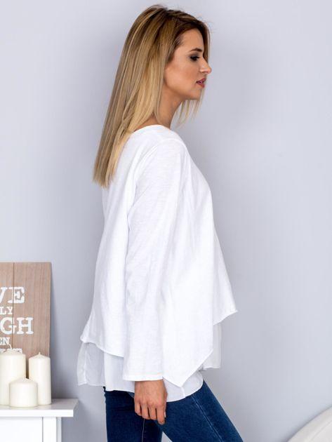 Asymetryczna luźna bluzka w łódkę biała                              zdj.                              3