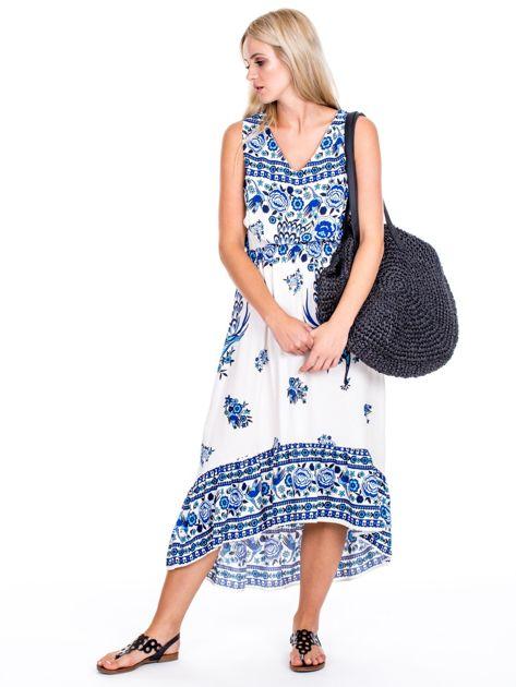 Asymetryczna sukienka w etniczne wzory niebieska                              zdj.                              1