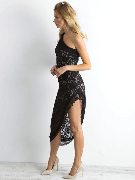 BY O LA LA Czarna asymetryczna sukienka z koronki                              zdj.                              3
