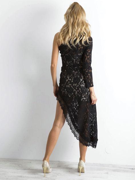 BY O LA LA Czarna asymetryczna sukienka z koronki                              zdj.                              2