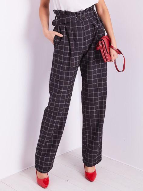 BY O LA LA Czarne eleganckie spodnie w kratę                              zdj.                              2