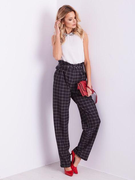 BY O LA LA Czarne eleganckie spodnie w kratę                              zdj.                              5
