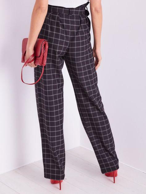 BY O LA LA Czarne eleganckie spodnie w kratę                              zdj.                              4