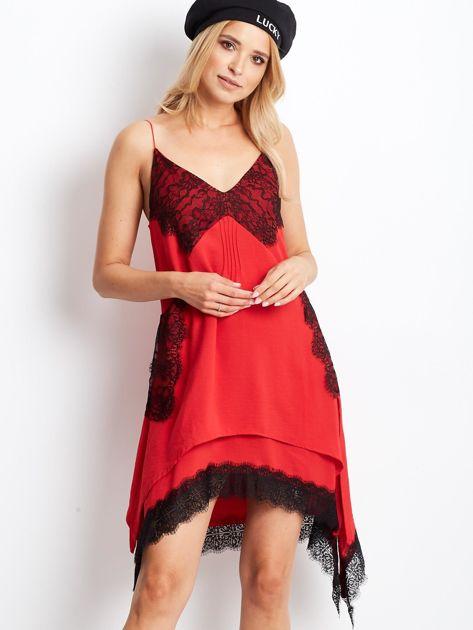 BY O LA LA Czerwona asymetryczna sukienka na cienkich ramiączkach                              zdj.                              1