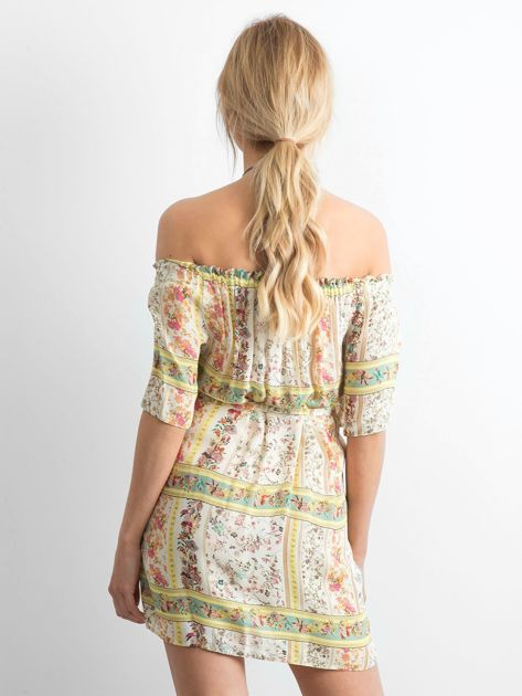 BY O LA LA Jasnożółta sukienka hiszpanka w kwiaty                              zdj.                              2