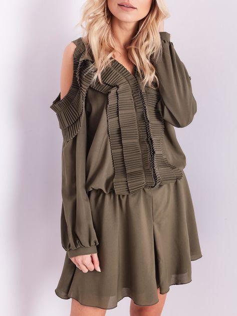 BY O LA LA Khaki sukienka cut out z plisowanym żabotem                              zdj.                              1