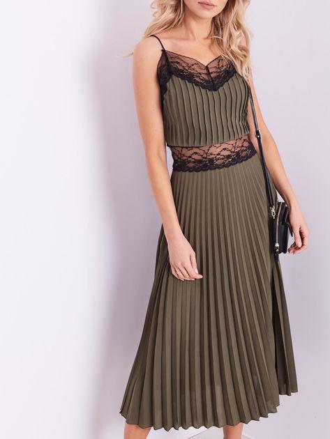 BY O LA LA Khaki wieczorowa sukienka maxi                              zdj.                              1