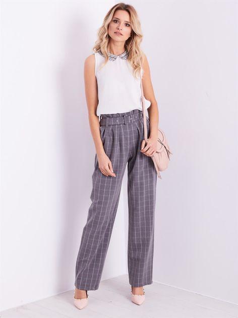 BY O LA LA Szare eleganckie spodnie w kratę                              zdj.                              1