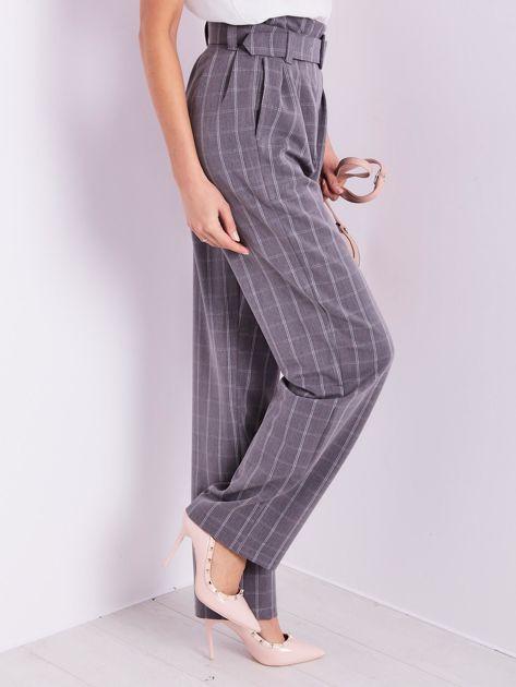 BY O LA LA Szare eleganckie spodnie w kratę                              zdj.                              9