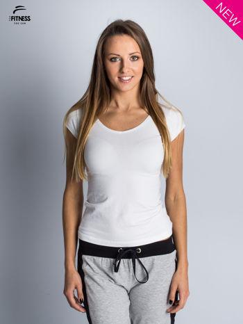 Bawełniana biała bluzka na krótki rękaw FOR FITNESS