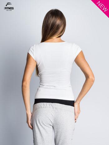 Bawełniana biała bluzka na krótki rękaw FOR FITNESS                                  zdj.                                  4