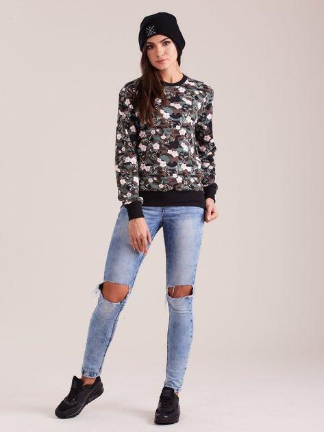 Bawełniana bluza damska we wzory khaki                              zdj.                              4