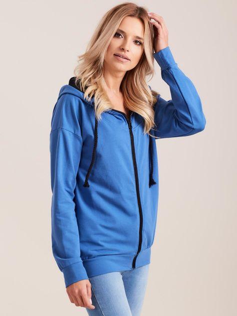 Bawełniana bluza z kapturem niebieska                              zdj.                              3