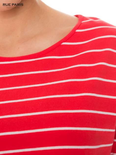 Bawełniana bluzka w koralowo-białe paski z rękawem 3/4                                  zdj.                                  4